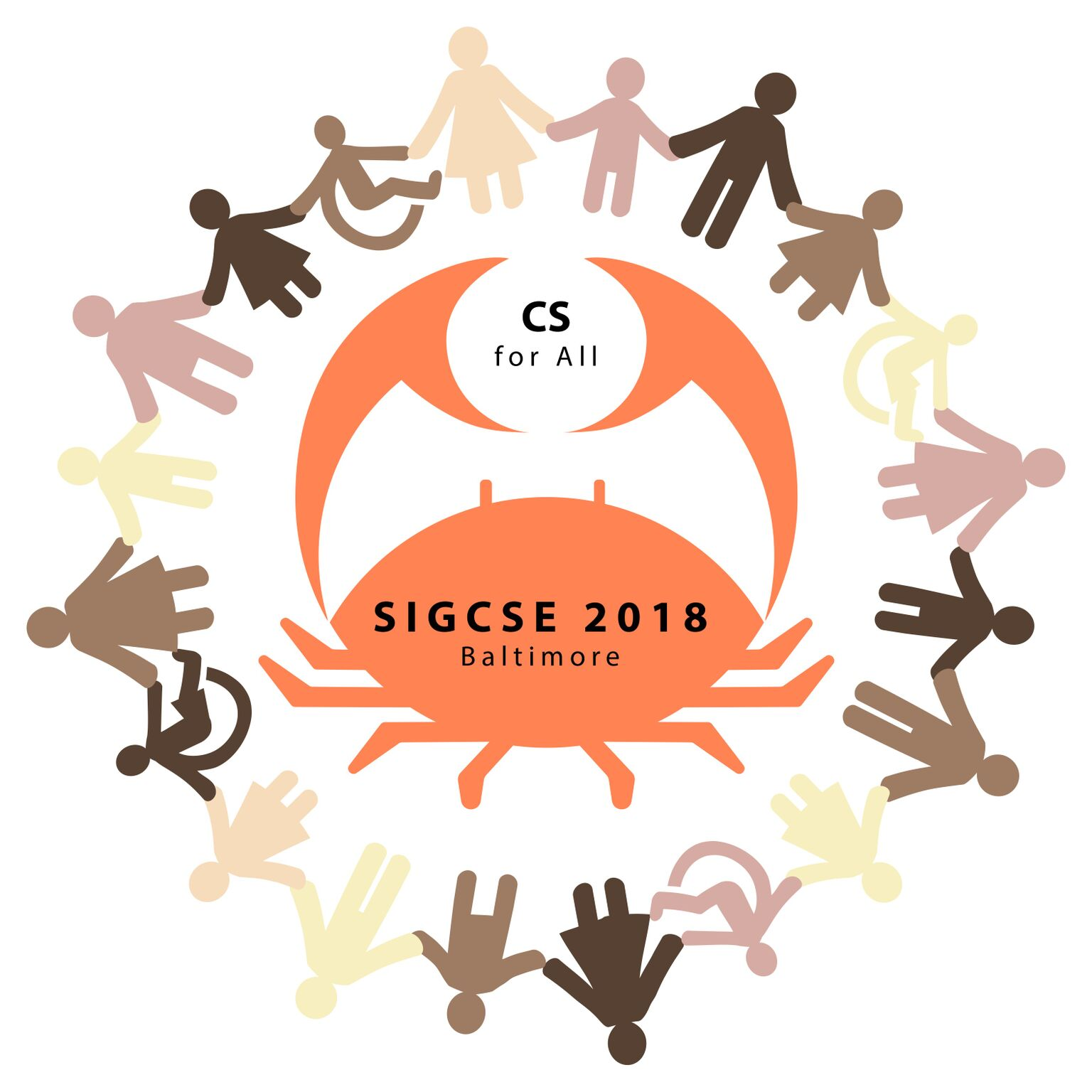 The SIGCSE 2018 logo showing  wide variety of humans gathered in a circle holding hands with a crab at their center.